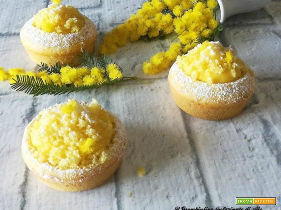 Mini mimose con crema alla mandorla
