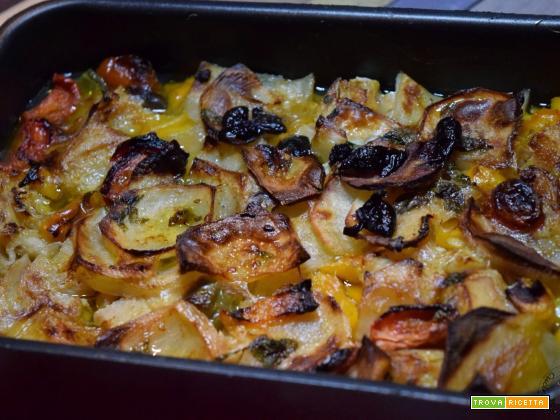 Baccalà al forno con peperoni e patate