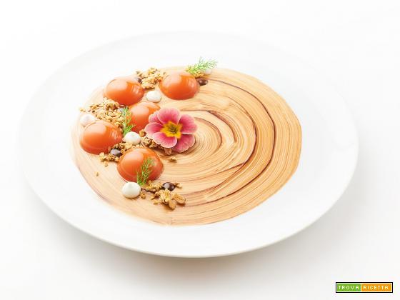 Aspic di mango e carote con salsa di cioccolato, granola e meringa