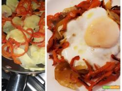 Uova con peperoni e patate