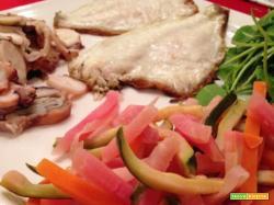 Con e senza Bimby, Filetti di Branzino con Verdure a Bastoncino al Vapore, Polipo