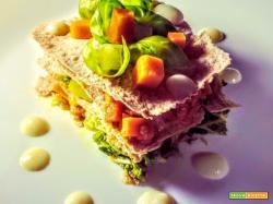 Lasagna con sfoglie di pane azzimo farcita con Cavoletti di Bruxelles, Carote e Zucca