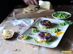 Sformatini di patate due colori con pecorino e fiore di Nasturzio