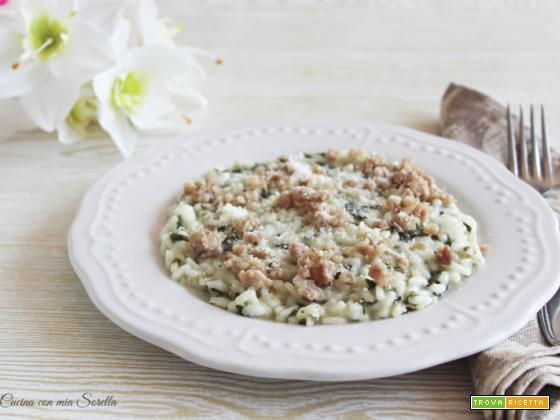 Risotto agli spinaci e salsiccia