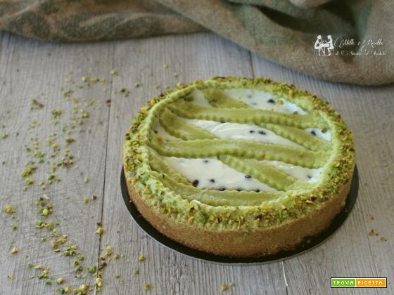 Crostata al pistacchio con crema di ricotta e gocce di cioccolato