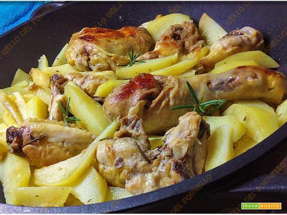 Pollo ruspante in padella con patate