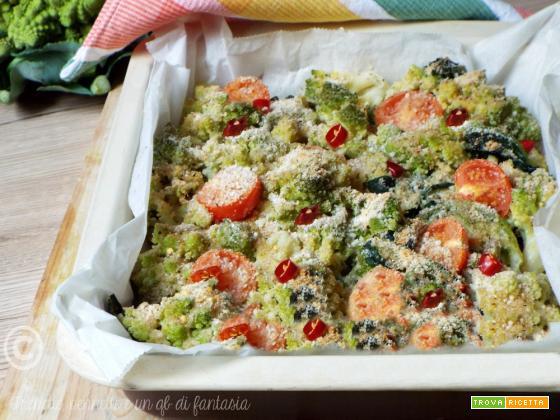 Broccoli gratinatiaglio olio e peperoncino