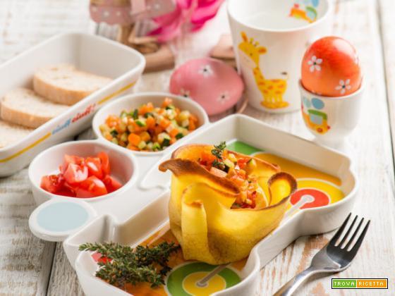 Fagottino di crespelle alle verdure: ideale per la Pasqua con i bambini