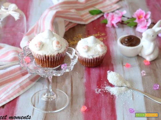 Cupcake alla nutella e nocciole con coniglietto