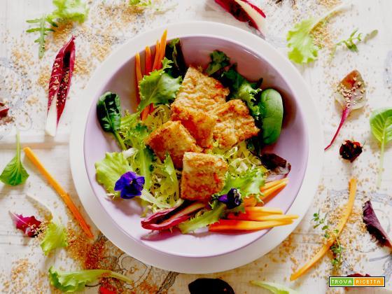 Quadrotti di farro spezzato al forno con carote, sedano e porro