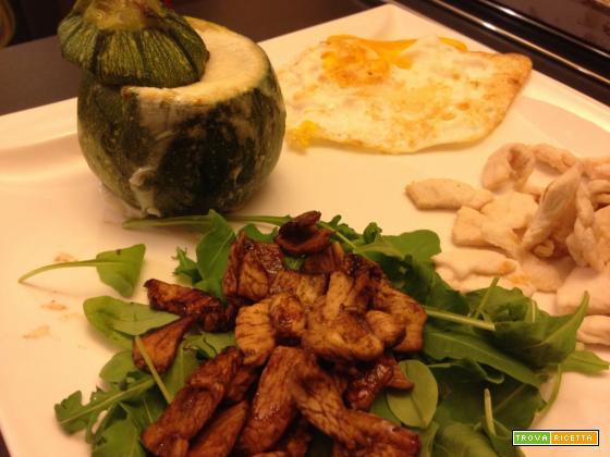 Con e Senza Bimby, Pollo al Limone e Pollo con Salsa di Aceto Balsamico con Zucchine Tonde Ripiene ed Uova