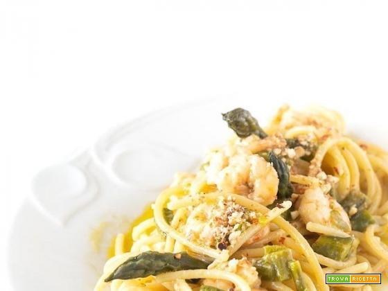 Spaghetti gamberi asparagi e…