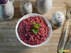 Risotto con barbabietola rossa e gorgonzola al mascarpone