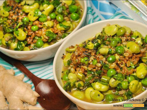 Segale e orzo allo zenzero, miso e verdure