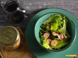 Insalata di tonno gamberetti e asparagi