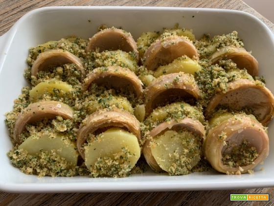 Patate e carciofi gratinati al forno