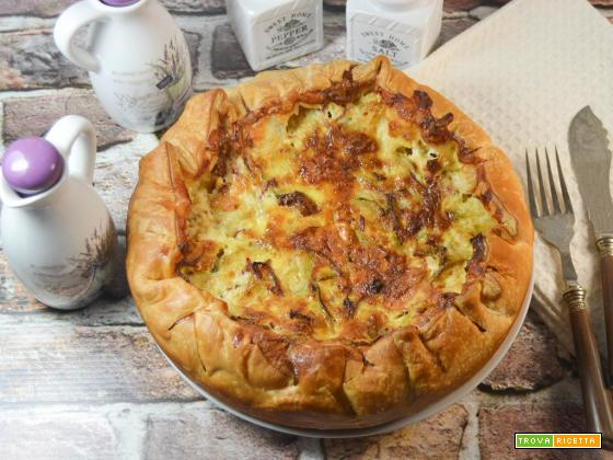 Torta salata con cuori di carciofo mortadella e fontina