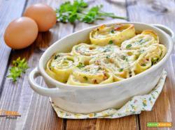 Girelle di crepes gratinate con zucchine e prosciutto