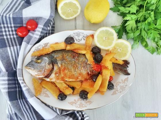 Orata con patate e olive