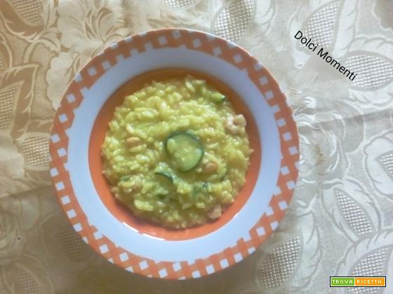 Risotto giallo zucchine e gamberetti