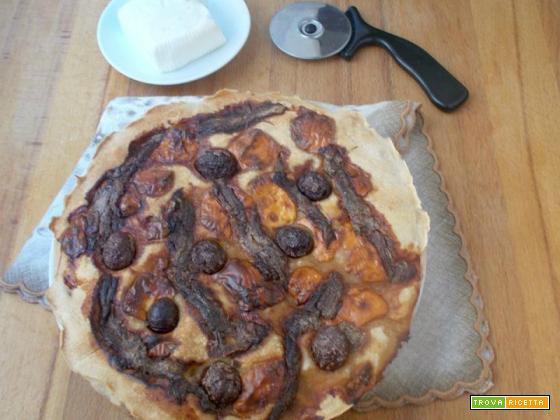 Pizza stracchino acciughe e olive – lievito madre