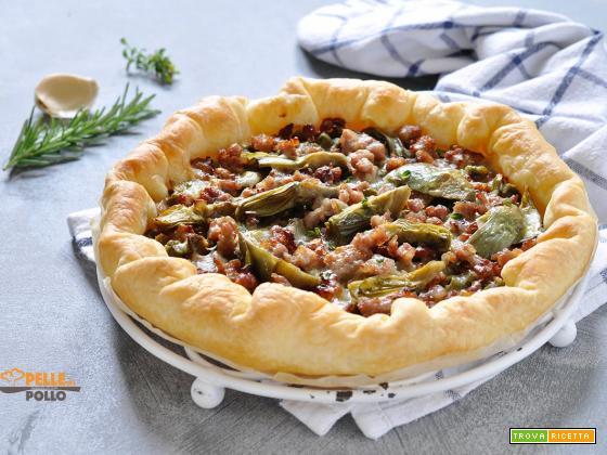Torta rustica ai carciofi e salsiccia