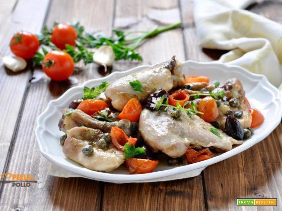 Cosce di pollo al forno con olive, erbe aromatiche e capperi