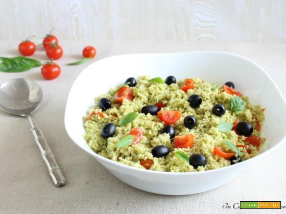 Cous cous al pesto pomodorini e olive
