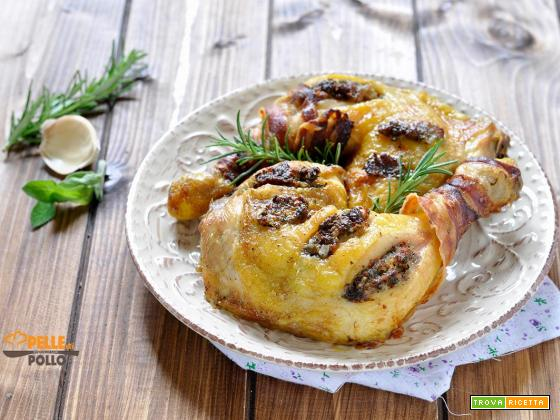 Cosce di pollo arrosto con erbe mediterranee e pancetta