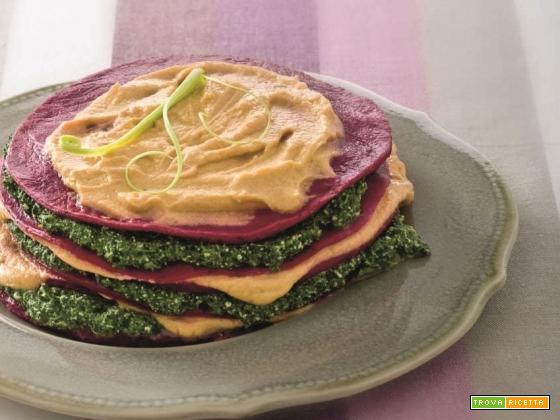 Lasagne di rape rosse, spinaci e funghi con abbinamento vino