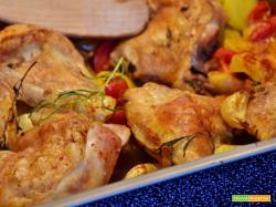 Pollo al forno patate e funghi porcini
