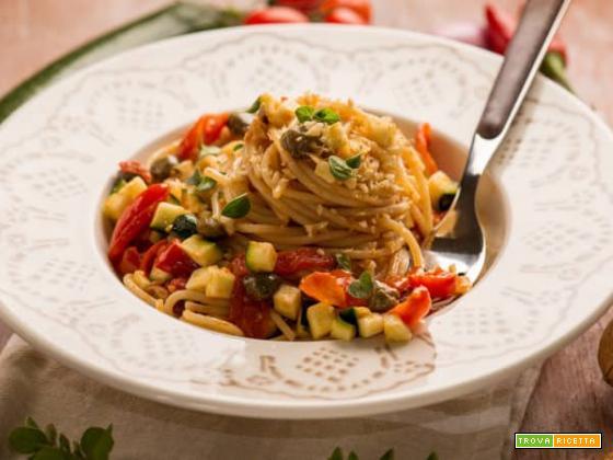Spaghetti con zucchine, datterini e noci: una vera bontà!