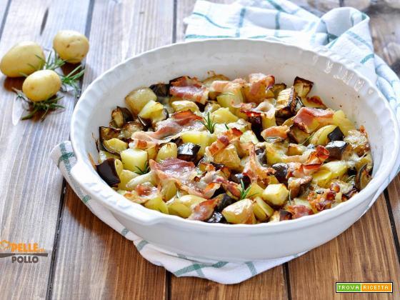 Melanzane e patate al forno con bacon e provola