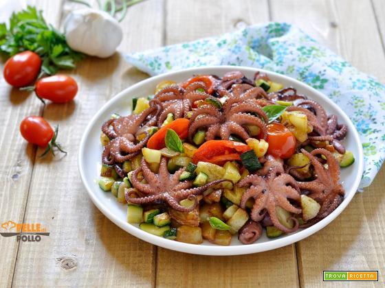 Insalata di moscardini con verdure e patate