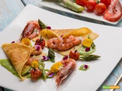 Crespelle con gamberi e salsa di asparagi: un piatto gluten free, ricchissimo di sapore