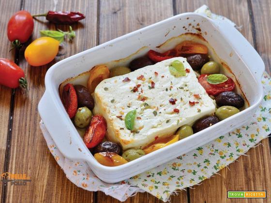 Feta al forno con olive e pomodorini