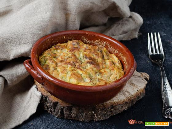 Tortino di patate con zucchine e prosciutto al forno