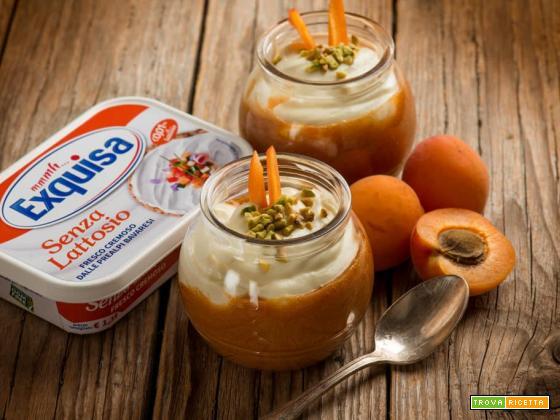 Dessert in coppetta con crema di yogurt ed albicocche
