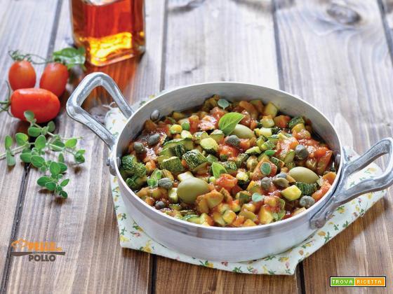 Caponata di zucchine con olive, sedano e capperi