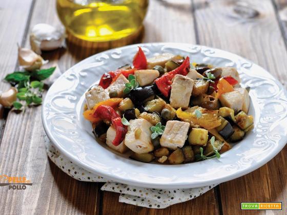 Bocconcini di pesce spada con verdure in padella