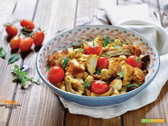 Insalata di pollo speziata con ceci e melanzane