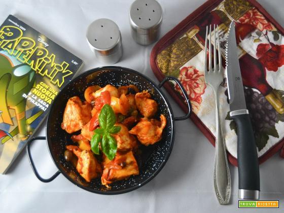 Bocconcini di pollo con peperoni in salsa piccante
