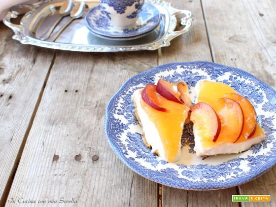 Cheesecake al limone e pesca senza cottura