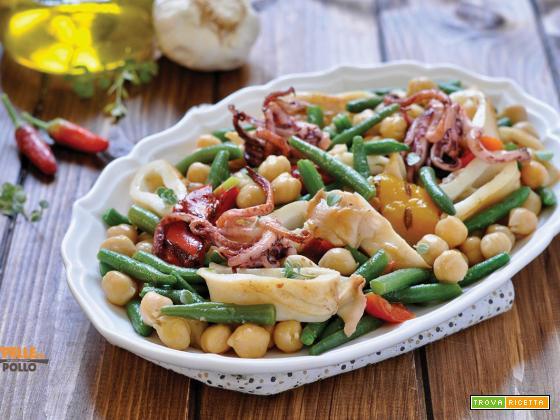 Insalata di calamari grigliati con ceci e fagiolini