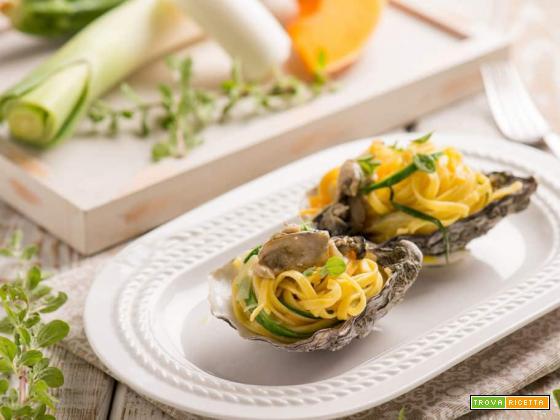 L'eleganza a tavola con i tagliolini nelle ostriche