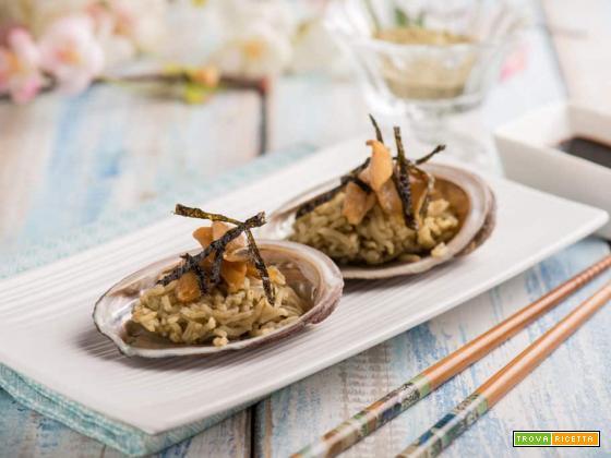 Un primo particolare: abalone con riso basmati e the matcha