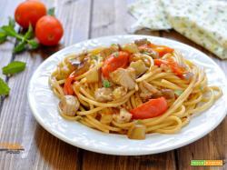 Spaghetti al tonno fresco e melanzane