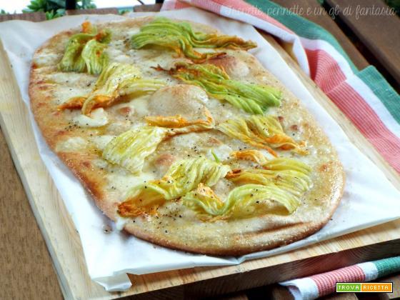 Pizza bianca stracchino e fiori di zucca