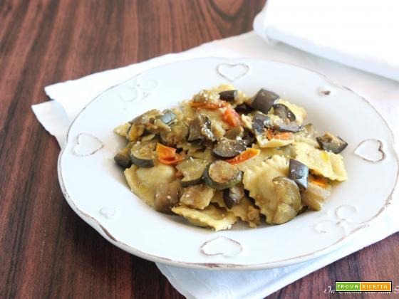 Ravioli con melanzane e zucchine a funghetto