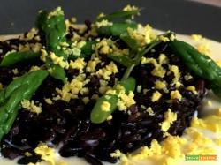 Ricetta di fonduta di formaggio Primo Fiore del Pratomagno, asparagi verdi, riso venere Gallo e tuorlo mimosa